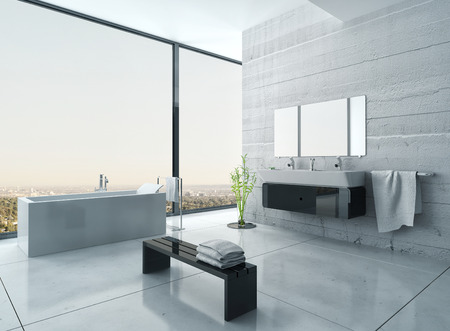 black bathroom: Modern black and white bathroom interior
