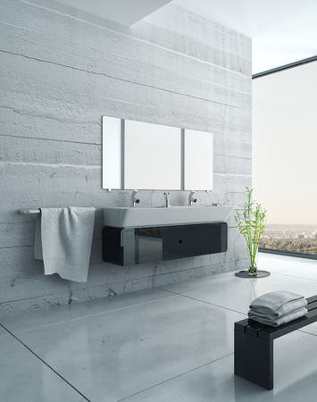 moderno bagno con doppio lavabo e pavimento nero foto royalty free ... - Bagni Moderni Bianchi E Neri