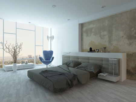 Grunge style bedroom interior with beige colored bed