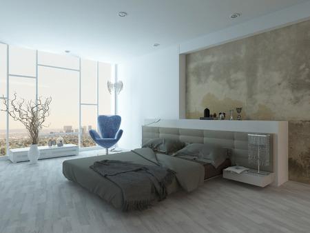 chambre � � coucher: int�rieur de la chambre de style grunge avec un lit de couleur beige Banque d'images