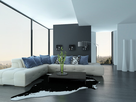 living room design: Modern living room interior with white couch with blue pillows