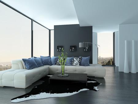 Moderne woonkamer interieur met een witte bank met blauwe kussens