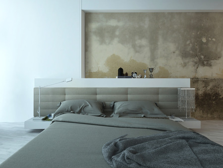 view of a comfortable bedroom: Grunge style bedroom interior with beige colored bed