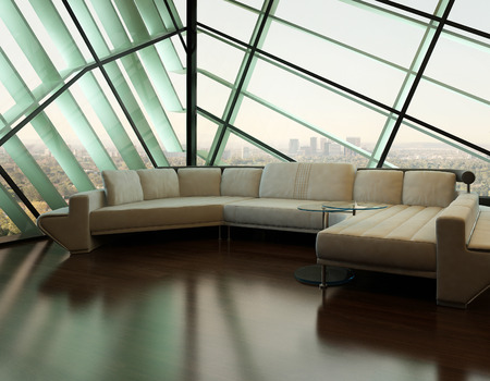 Modern living room interior with white couch against angular window photo