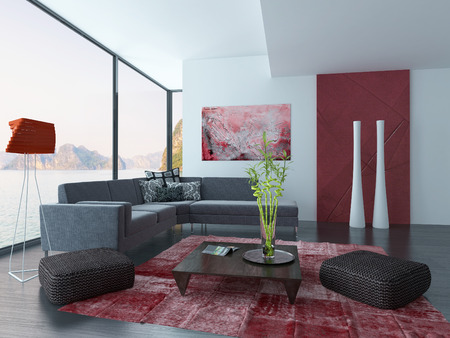 Modern living room interior with dark couch and red carpet Stock Photo - 28747284