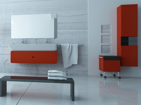 Modern bathroom interior with red furniture photo
