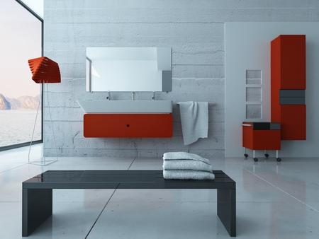bathroom wall: Ultramodern bathroom interior with red furniture