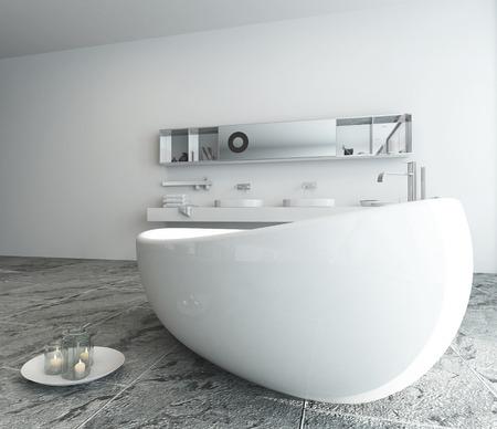 Modern bathroom interior with freestanding bathtub photo