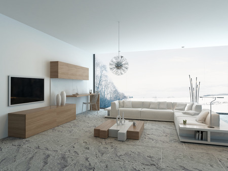 Intérieur moderne de salon de style en bois clair Banque d'images - 28747239
