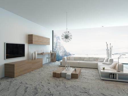 Moderní světlý dřevěné stylu obývací pokoj interiér