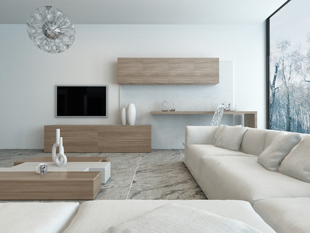 living room minimalist: Modern bright wooden style living room interior Stock Photo