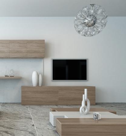 interior designer: Modern bright wooden style living room interior Stock Photo