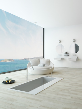 Spa style bathtub with unique seascape view