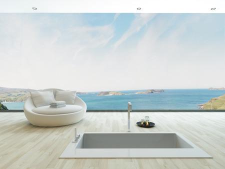 Spa style bathtub with unique seascape view photo