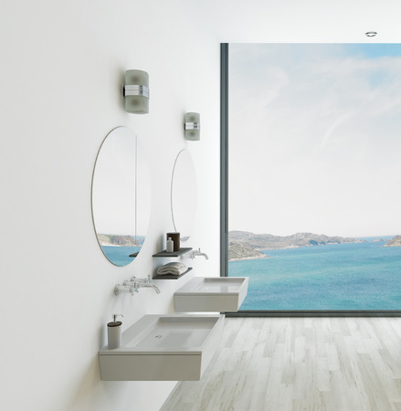 double sink: Modern bathroom interior with seascape view