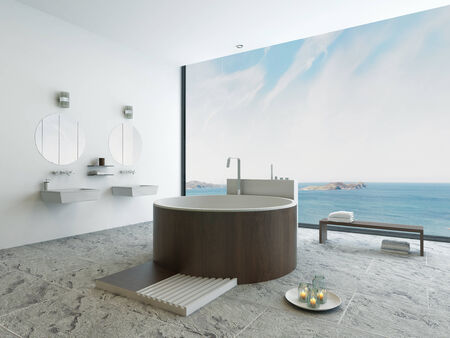 Modern bathroom interior with round wooden bathtub and seascape view photo