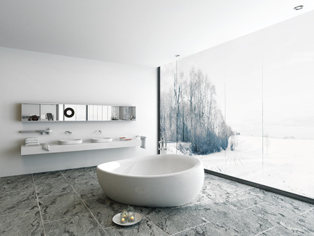 Modern bathroom interior with huge window with winter landscape view photo