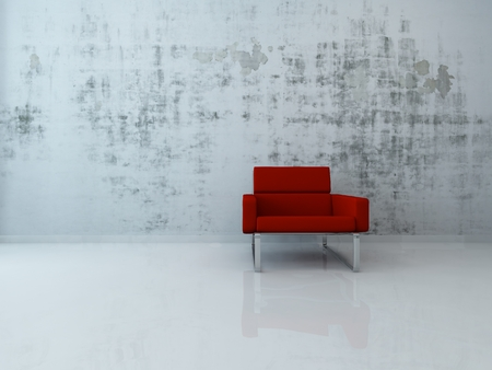 red sofa: Single red armchair standing in front of concrete wall