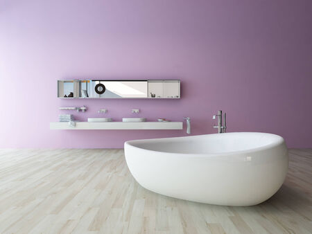 Closeup of modern bathtub in a room with violet colored wall photo