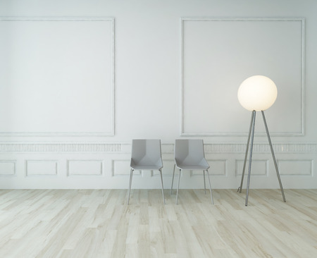 floor lamp: Two gray chairs and floor lamp standing in front of white wall with parquet floor