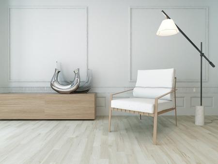 Helles Wohnzimmer-Interieur mit einem einzigen Stuhl, der vor der weißen Wand