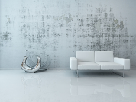 Interior with white couch standing in front of concrete wall Stock Photo