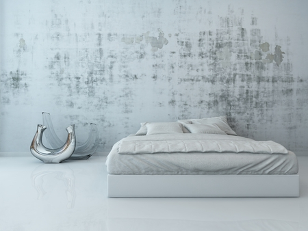 Bedroom interior with one white bed standing in front of concrete wall photo