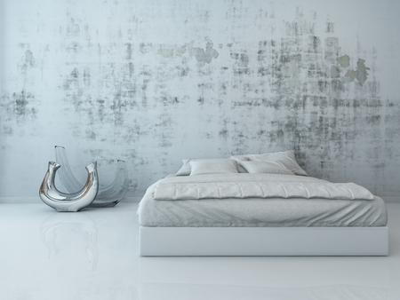 hormigon: Interior del dormitorio con una cama blanca que se coloca delante de la pared de hormigón