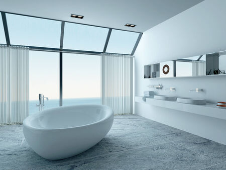 standalone: Bathroom interior with standalone bathtub and seascape view Stock Photo