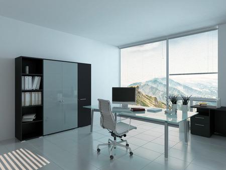muebles de oficina: Interior moderno de la oficina con escritorio y PC