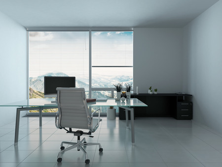 책상과 PC와 현대적인 사무실 인테리어 스톡 콘텐츠