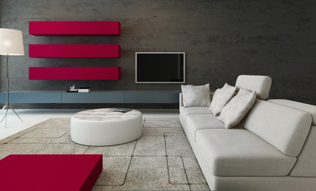 Modern living room interior with pink style furniture  photo