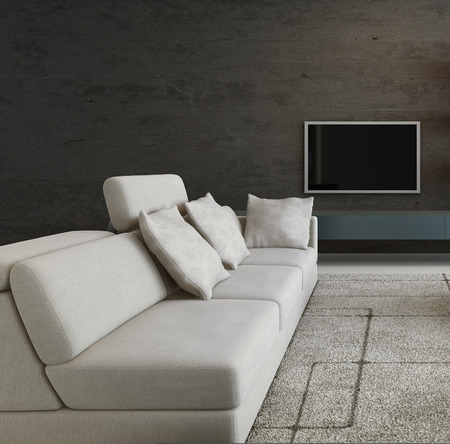 Dark living room interior with white couch and TV hanging an wall photo