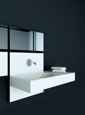 Closeup of modern design wash basin photo