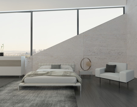 kingsize: Modern bedroom interior with king-size bed and stone wall