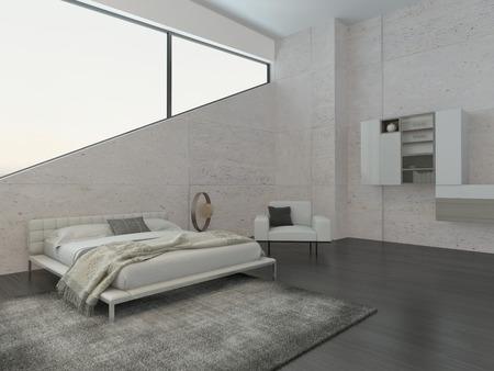 Intérieur de la chambre moderne avec un lit king-size et mur de pierre Banque d'images - 28747100