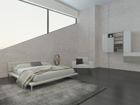 Moderne slaapkamer inter met king-size bed en stenen muur