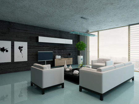 architecture design: Modern design living room interior Stock Photo