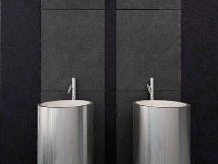 Modern bathroom interior with wash basins photo