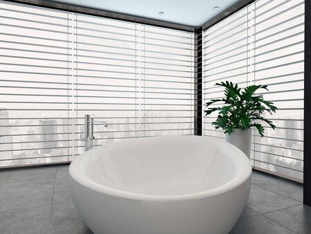 standalone: Standalone bathtub in a nice room Stock Photo