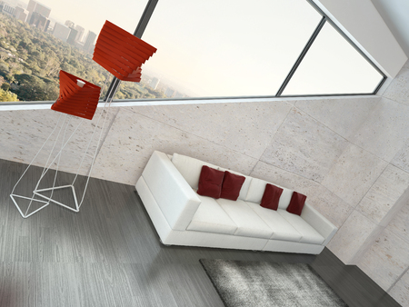 Modern living room interior with white couch with red pillows photo