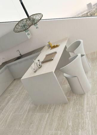 barstool: Modern design kitchen interior