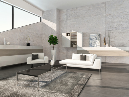 living room minimalist: Modern design living room interior Stock Photo