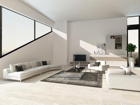 and living: Modern design living room interior Stock Photo