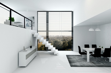 White room interior with mezzanine and dining table