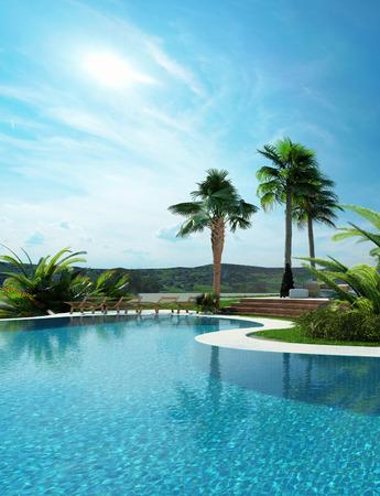 Mooie aangelegde tropische turkoois blauw zwembad met een gebogen muur leidt tot palmbomen onder een zonnige blauwe hemel Stockfoto