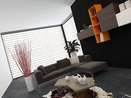 venetian blind: Modern living room with a glass wall covered by a blind, wall-mounted shelves and a comfortable lounge suite in shades of grey with small colored accents
