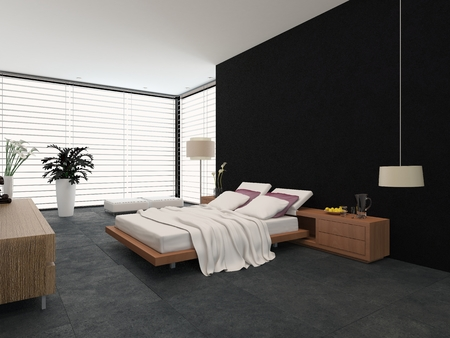 orthopaedic: Modern bedroom interior with black and white decor with an adjustable bed and freestanding standard lamp with huge windows covered with blinds