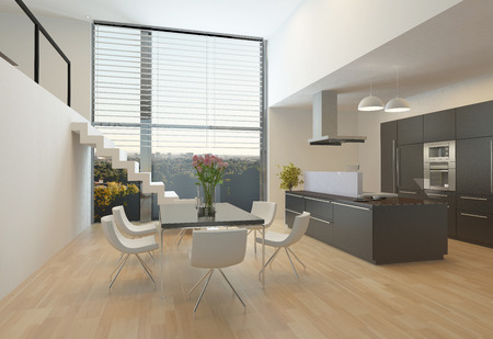 Modern kitchen interior with a central hob, wall units, dining table and steps up to a mezzanine with a large view window photo