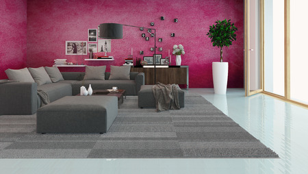 upholstered: Modern living room interior with a comfortable upholstered lounge suite, houseplants, an overlay parquet floor and maroon wall overlooking a large view window along one wall